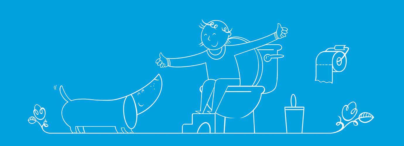 Niño dibujado sentado en el inodoro con un taburete levantando el pulgar hacia arriba a un perro