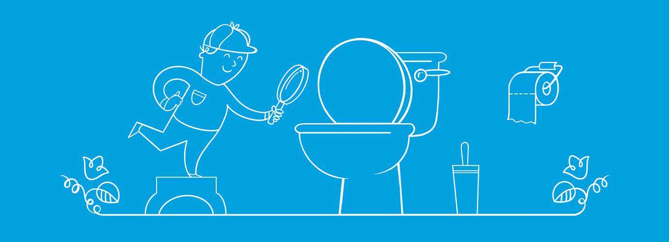 Menino ilustrado vestido como um detetive a segurar uma lupa em direção à sanita