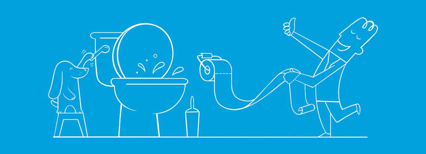 Menino e cão ilustrados a seguirem as regras de higiene da sanita: o menino segura o papel higiénico enquanto o cachorro puxa o autoclismo