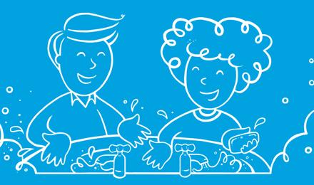 Hombre y mujer dibujados lavándose las manos en un lavabo
