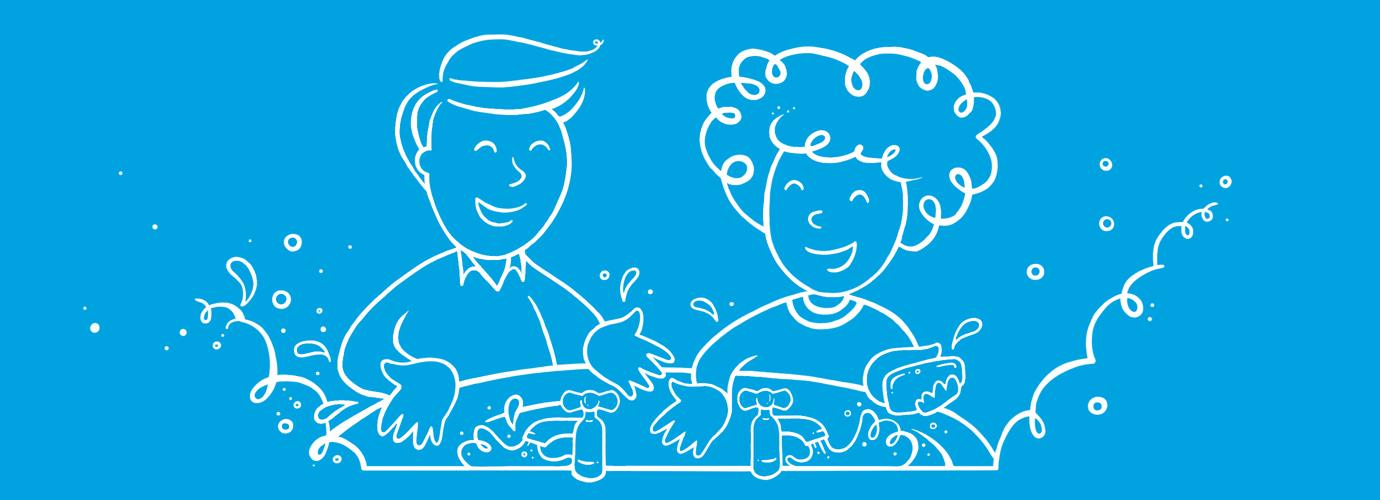 Homem e mulher ilustrados a lavar as mãos num lavatório