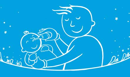 Um pai ilustrado a segurar um bebé e a assoar o nariz do bebé com uma seringa de borracha