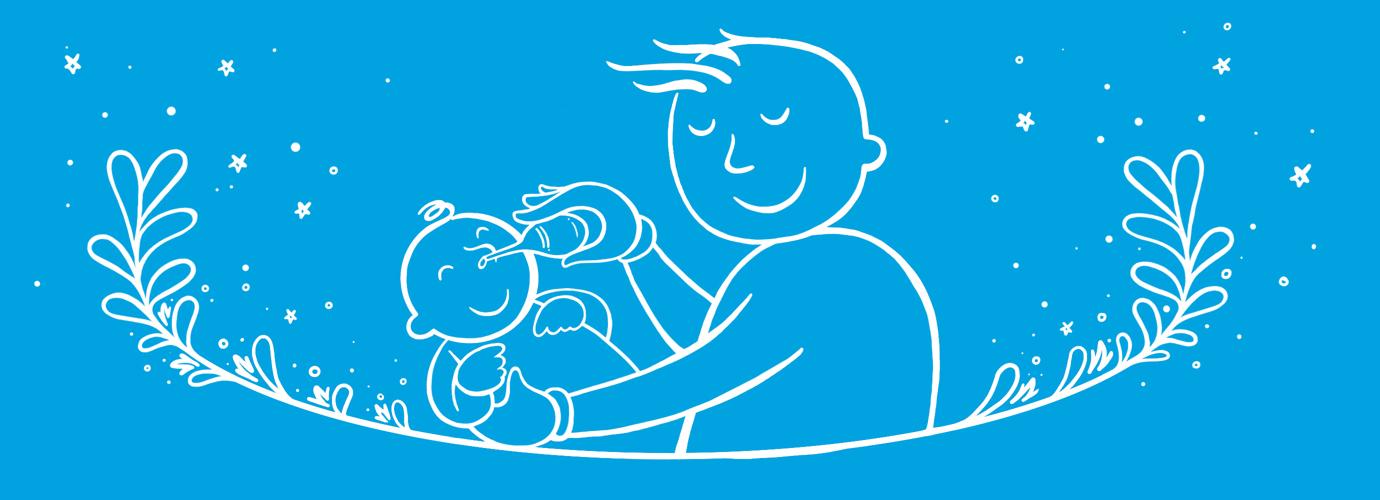 Papá dibujado con un bebé sonándole la nariz al bebé con un aspirador nasal