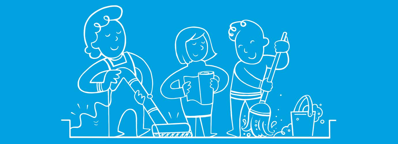 Personas dibujadas limpiando la casa con una fregona, un aspirador y un poco de papel de cocina