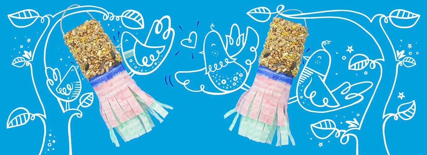 Comederos de aves DIY con semillas y papel decorativo pintado con ramas y pájaros